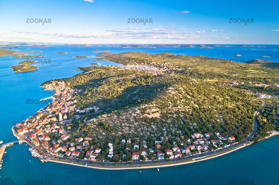 Coastal town of Tisno and Murter archipelago aerial view