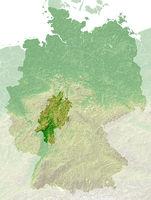 Hessen - topografische Relief Karte Deutschland