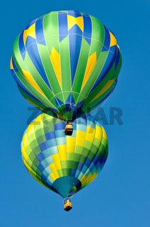 Two Green and Blue Hot Air Balloons