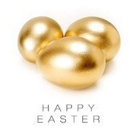 Happy Easter card (Golden eggs isolated on white background).
