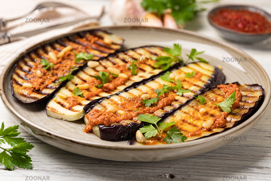 Grilled eggplant and sauce