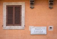 Piazza Navona (Navona's Square) in Rome, Italy, street name sign