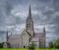 St. Marys Cathedral in Killarney with dramatic storm sky