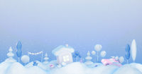 Collection of Christmas, New Year element. 3d render, 3d illustration.