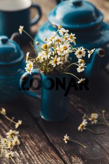 Phyto chamomile tea with vintage tea set