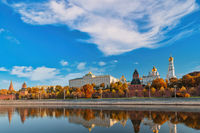 Moscow Russia, city skyline at Kremlin Palace and Moscow River with autumn foliage season