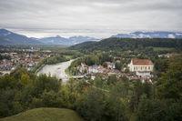 Blick vom Kalvarienberg auf das Isartal bei Bad Tölz