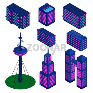 Set of isometric detailed buildings in modern palette isolated on white. TV tower, skyscrapers and residential buildings. Vector EPS10.