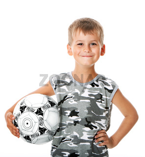 Boy holding soccer ball  isolated on white background