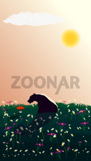 A pensive bear sits on the lawn and looks at a growing red mushroom. Contemplation of the beautiful. There are many flowers in the meadow. The sun is shining in the sky. Vertical vector illustration.