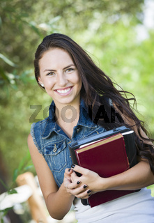 Mixed Race Young Girl Student with School Books