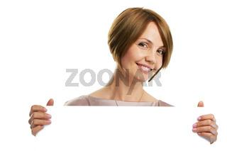 woman holding board