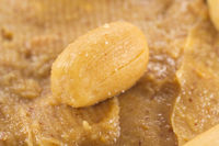 Closeup of a peanut on peanut butter