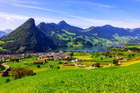 bemerkenswerte alpine Aussicht in der Nähe von Seewen, Schweiz