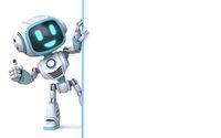 Cute blue robot holding blank white board 3D