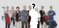 Bewerber und Mitarbeiter gesucht vor unscharfer Gruppe Leute