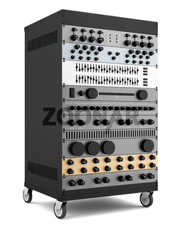 audio effects processors in a rack isolated on white background