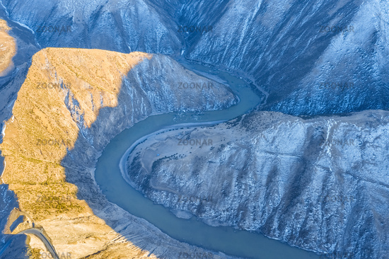 aerial view of the winding nujiang river in tibet