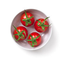 Cherry Tomatoes In White Bowl Isolated