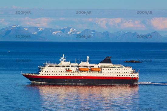 Cruise ship by Norwegian coast