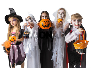 Children trick or treating on Halloween