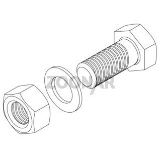 Stainless steel bolt and nut.