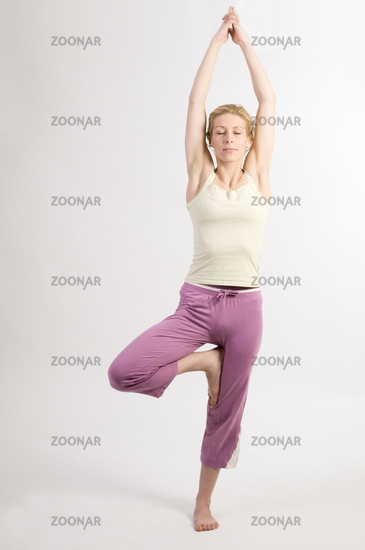 yoga tree three closed eyes