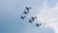 V formation against sky