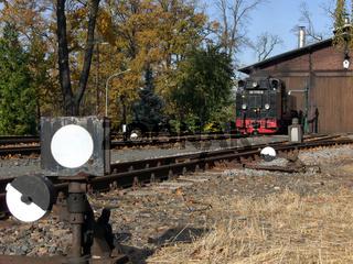 Weichenlaternen mit Dampflokomotive