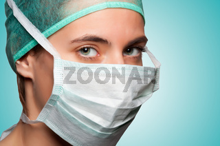 Female Surgeon with face mask