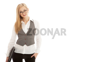 young succsessfull business woman isolated on white background