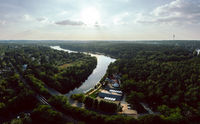 aerial panorama view on the Griebnitzsee on a summer day