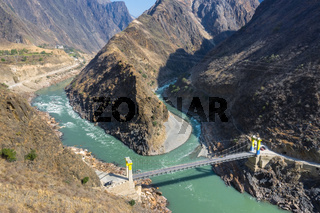 aerial view of the bridge on Nujiang river