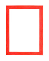 Modern red picture frame on white