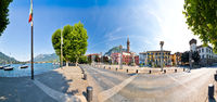 Town of Lecco on Como lake panoramic waterfront view