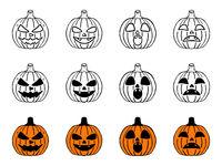 Set of Halloween pumpkins in different styles.
