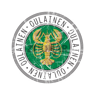 Oulainen city postal rubber stamp