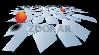 Stylish modern 3D polygonal background of hexagons with a metal surface and orange volumetric balls. Light plane in hexagons. Multilayer composition. Vector.