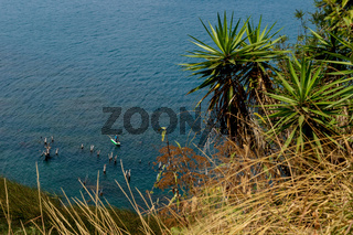 Top view on fisherman at lake Atitlan at a sunny place in nature, San Pedro la Laguna, Guatemala