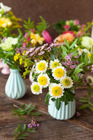 Frische Fruehlingsblumen, kleine Bouquets