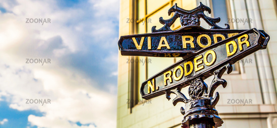 The famous Rodeo Drive in Los Angeles, California. Street for shopping and fashion.