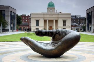 Wishing hand sculpture in Dublin Republic of Ireland