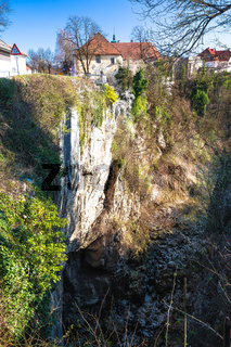 Town of Ogulin and Dobra river canyon abyss view