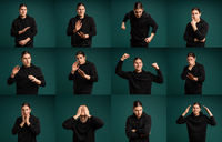 Set of young man portraits with diferent emotions and gestures