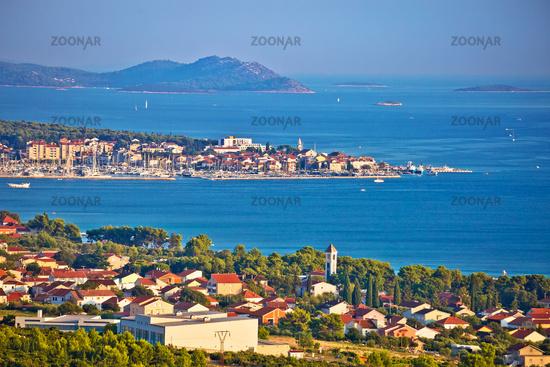 Biograd Na Moru and Sveti Filip i Jakov waterfront panoramic view