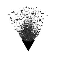 Explosion Cloud of Black Pieces. Sharp Particles Randomly Fly in the Air. Big Burst. Triangle Explode