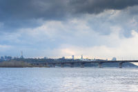 Dnipro river Paton skyline Kiev