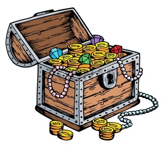 Treasure chest drawing - picture illustration.