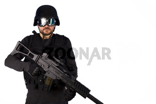 Defense against terrorism,Armed policeman isolated on white