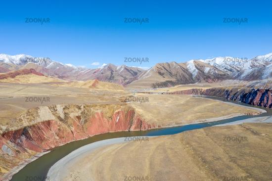 beautiful nujiang river landscape with tanggula mountains